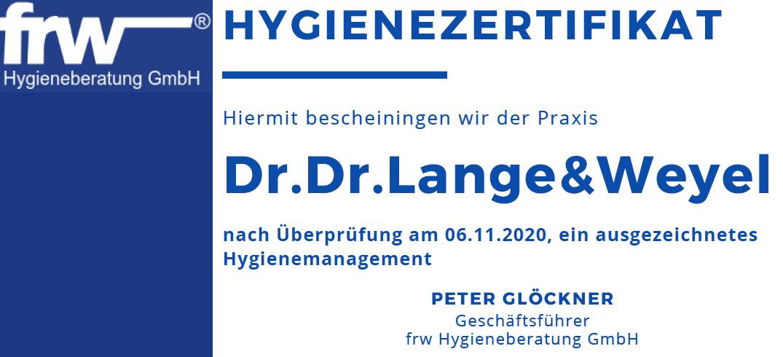 Damit Sie sich sicher fühlen können. Lange & Weyel bietet Ihnen einen Hygienestandard auf höchstem (zertifiziertem) Niveau.